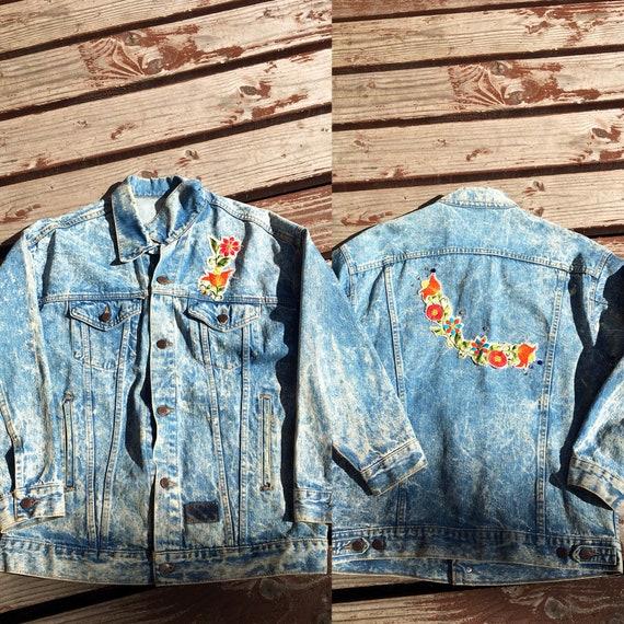 Reserve Vintage Acid Wash Patched Jean Jacket-Embe