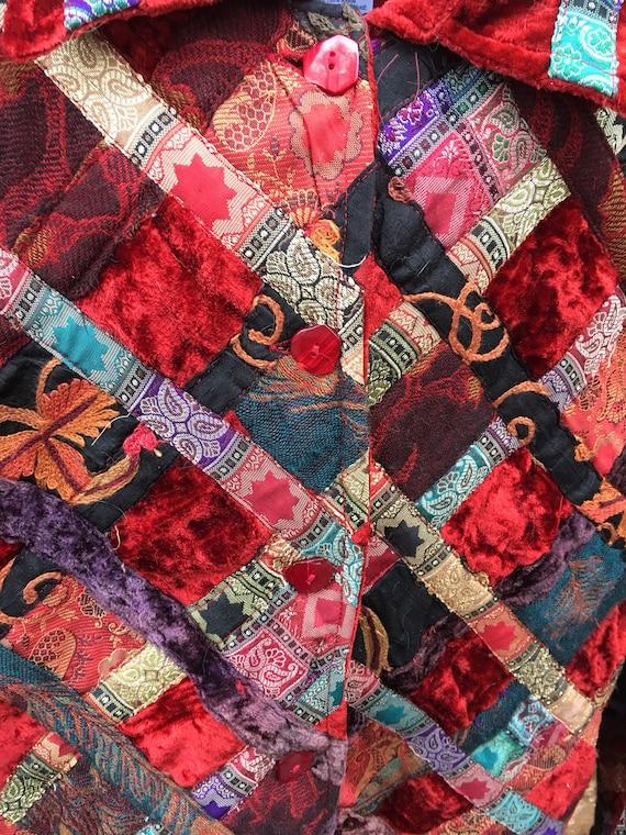 Velvet Patchwork Boho Button Closure Jacket-Patch… - image 5