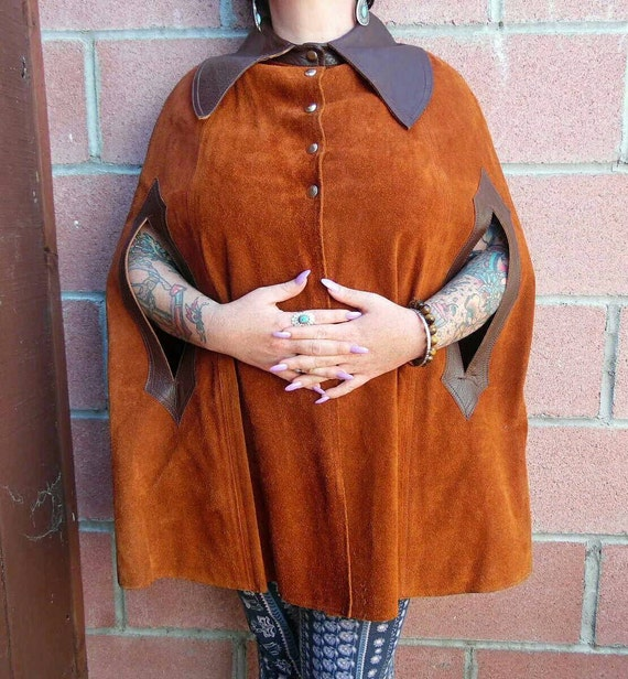 Vintage Leather Cape - Suede Cape - suede Poncho -