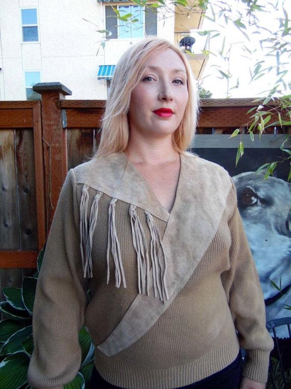 Vintage Fringe Sweater-Suede Fringe-Women's Sweate