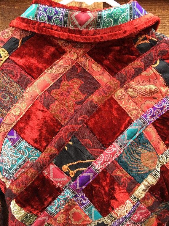 Velvet Patchwork Boho Button Closure Jacket-Patch… - image 6