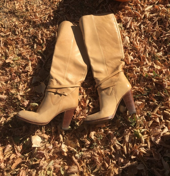 Vintage High Heel Boots-Light Tan Lace Up Boot-Vin