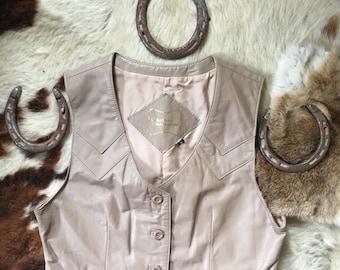 Womens Vintage Leather Vest-Light Tan Leather Vest-Leather Vest-Western Vest-Vintage Leather Cropped Vest-Small/Medium