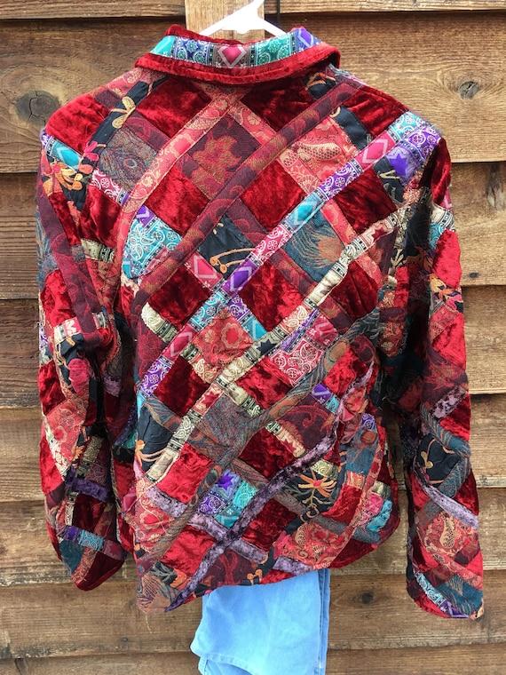 Velvet Patchwork Boho Button Closure Jacket-Patch… - image 9
