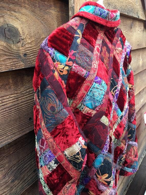 Velvet Patchwork Boho Button Closure Jacket-Patch… - image 3