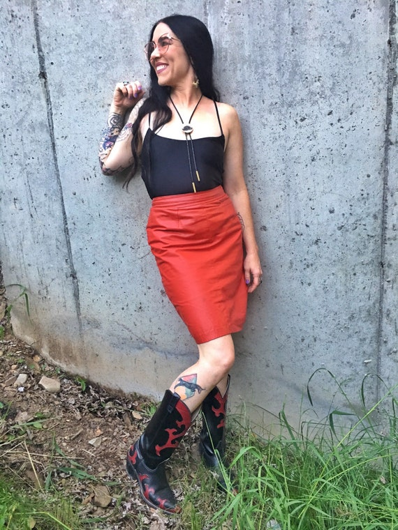 Vintage Red Leather Pencil Skirt-Red Pencil Skirt