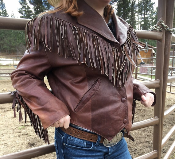 Vintage Chocolate Brown Fringe Leather Jacket-Crop
