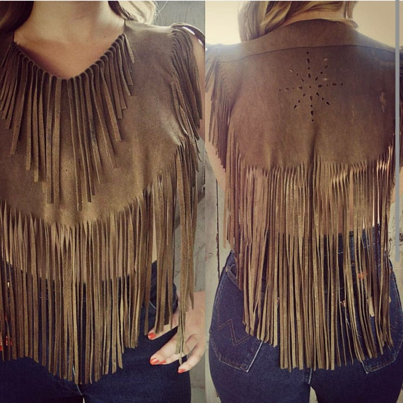 Fringe Leather Caplet-Vintage Fringe-Leather Fring