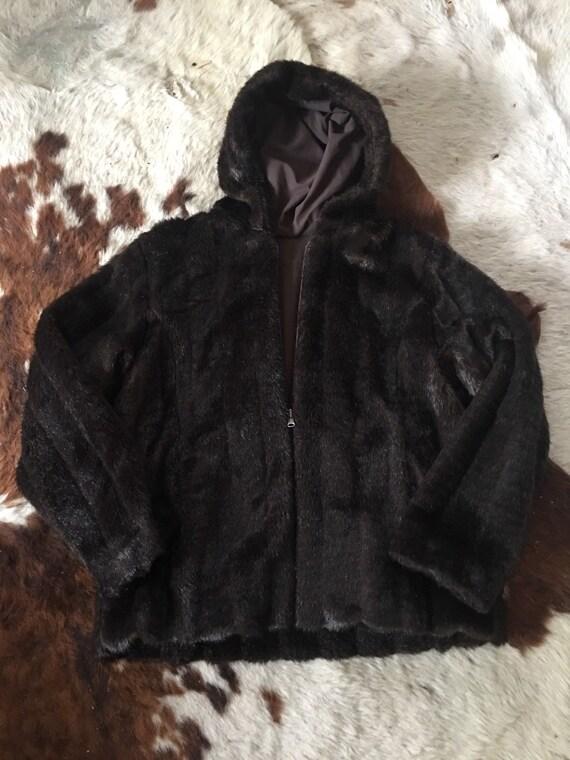 Chocolate Brown Faux Fur Hooded Coat-Vintage Faux
