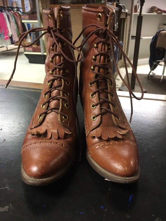 Vintage Women's Capezio Ropers Lace Up Boots-Weste