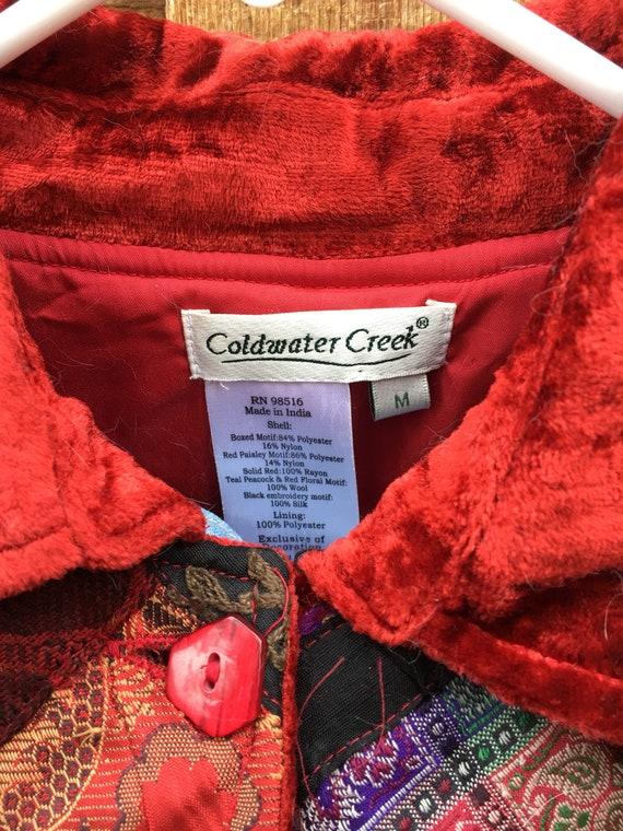 Velvet Patchwork Boho Button Closure Jacket-Patch… - image 2