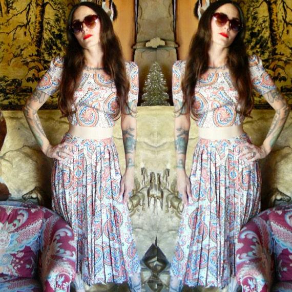 Vintage Paisley Print Set-Pleated Skirt-70s-Vintag