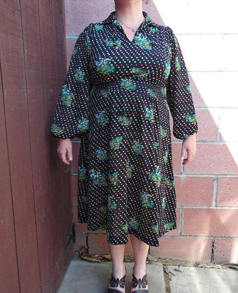 Vintage Floral Dress-1970s Dress-Sheer Floral Dress-Boho Dress-Size Large