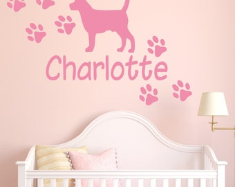 e2f744760078 Personalised Dog Paw Print Name Wall Sticker Custom Pets Bedroom Kids Vinyl  Decal | NA30