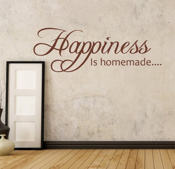 happiness is homemade wall sticker decal words vinyl | etsy