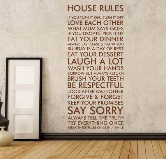 house rules wall sticker quote decal words vinyl adhesive | etsy