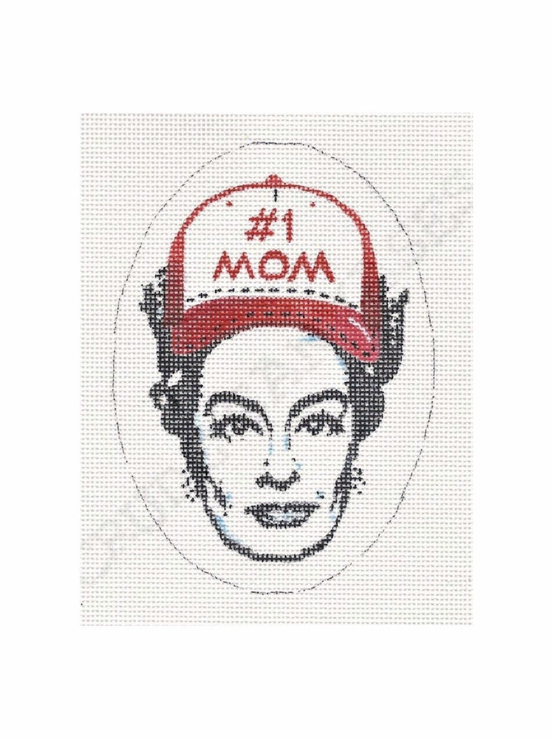 Joan Crawford w/ Baseball Cap  Hand painted needlepoint image 0