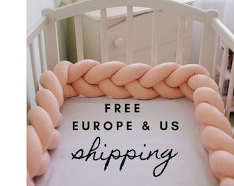 157.4 Inch 4M RedSuns Baby Crib Bumper 4 Weave Bumper Infant Soft Pad Braided Crib Bumper Bed Snake Braided Bumper for Crib Cot Newborn Gift Cradle Decor