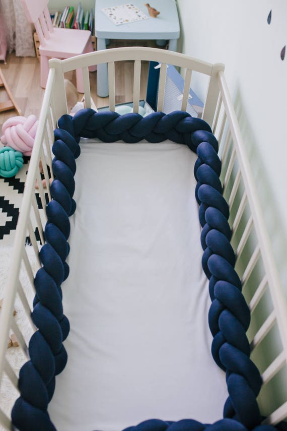 Braided Crib Bumper Navy Blue Braided Cot Bumper Knot