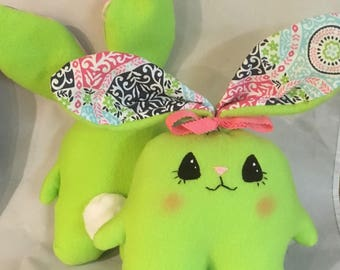 "Soft  and Huggable Green Fleece Bunny Rabbit  7"" (not counting ear length)"