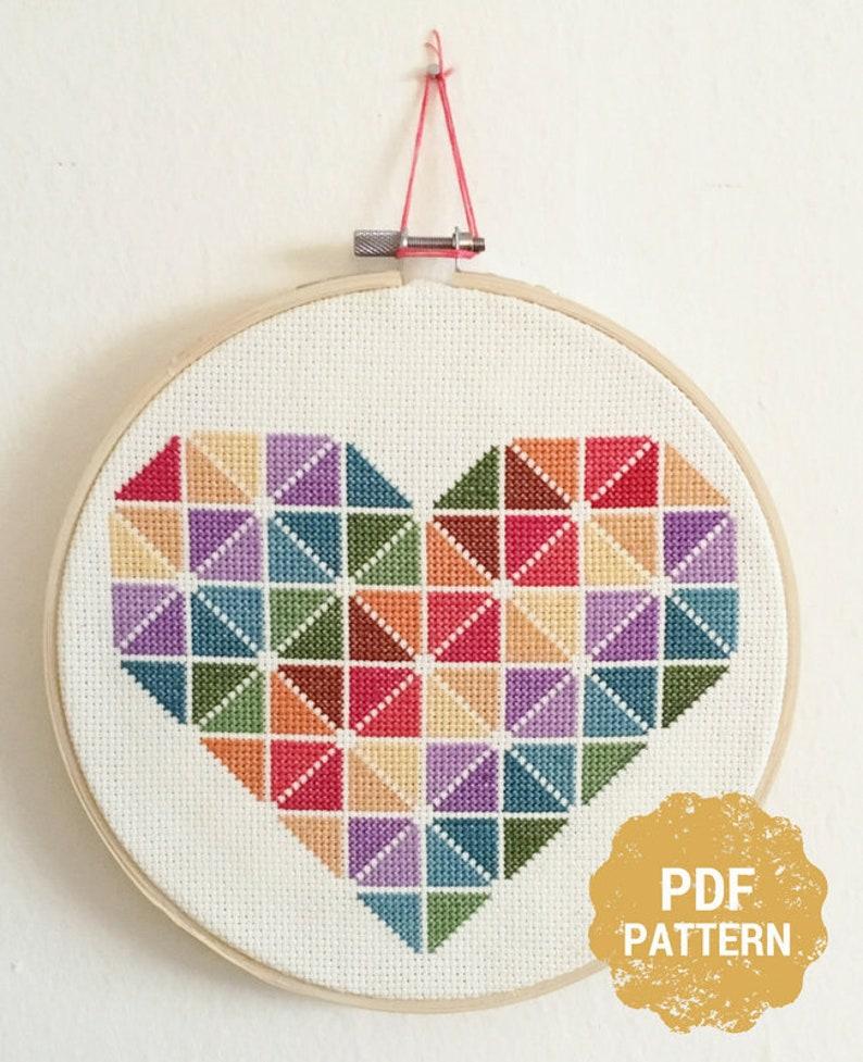 Heart Cross Stitch Pattern, Beginner Cross Stitch Pattern, Rainbow Cross  Stitch, Geometric, Colorful Cross Stitch, Easy Cross Stitch Pattern