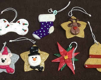 Ooak polymer clay Christmas ornaments