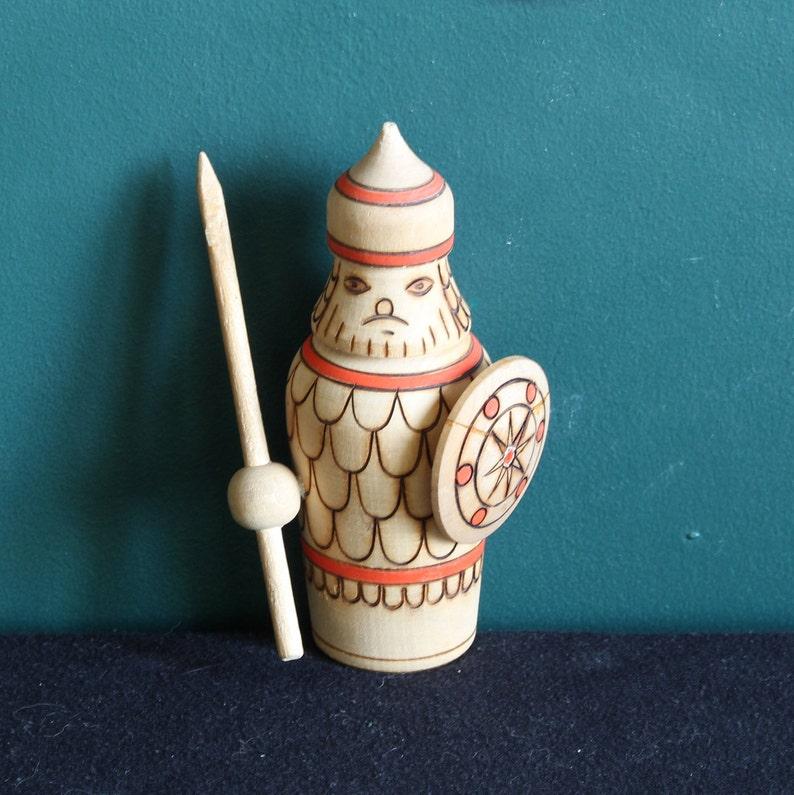 Farm Wooden Armor Russian Knight Wood Grain Hand Carved Vintage Wood Cavalier figurine