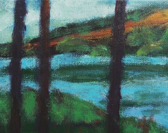 """SALE! Mini Landscape """"Through The Trees,"""" 5"""" x 7"""",  original acrylic painting on canvas by Judith Prager, with black wood frame."""