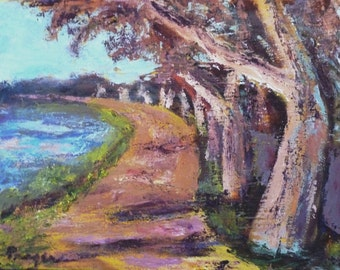 """LOWER PRICE!! Original acrylic painting, """"Charles River Sycamores,"""" expressive landscape, with simple wood studio frame, 11"""" x 14"""""""