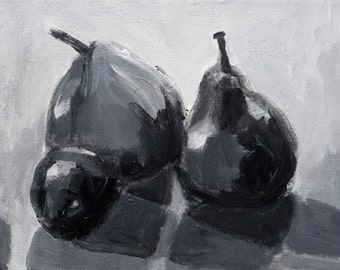 """Still Life, """"Two Pears and a Plum, Black and White,"""" Original acrylic painting, 8"""" x 10"""""""