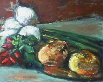 Still Life with Onions and Radishes, 16 x 20, original oil painting by Judith Prager in simple black wood frame.