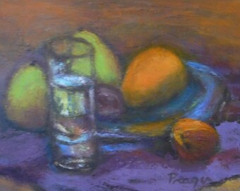 """ON SALE! Still Life, """"Fruit with Glass,""""original oil painting, 12"""" x 16"""" framed with simple wood frame."""