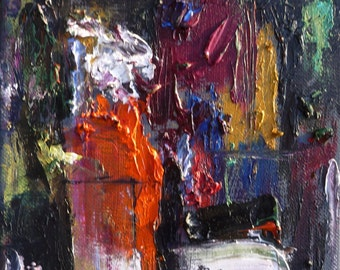 """SALE! Original oil painting, """"Abstract Interior with Orange Vase,"""" small chunky, heavy texture"""