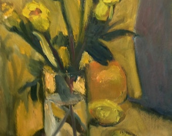 """Original Oil Painting, """"Yellow Tulips."""" 20"""" x 16"""", with simple black wood frame."""