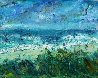 """5"""" x 7"""" original acrylic painting, """"Beach in Blue,"""" on stretched canvas."""