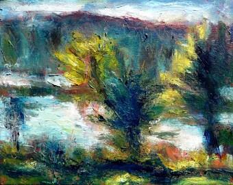 "Original oil landscape, ""Light On Trees"", 8"" x 10"", simple black wood frame."