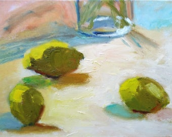 "Original colorful Judith Prager oil still life painting, ""Three Lemons,"" 12 x 16, in simple black wood frame"