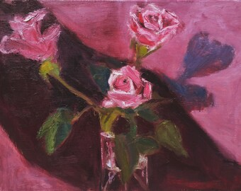 """Original Oil Painting, """"Roses With Shadow,"""" 12"""" x 16"""" with simple wood frame."""