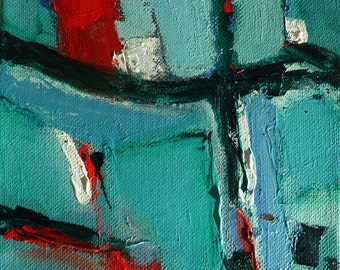 """NOW ON SALE! Original abstract painting, """"6 x6, #7"""" acrylic on canvas, blues and greens with red accents, chunky canvas, 1 1/2"""" deep"""