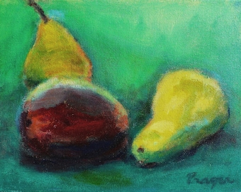 """ON SALE! Still Life, """"Two Yellow Pears and a Mango,"""" original acrylic painting, 11"""" x 14"""", with simple black wood frame."""