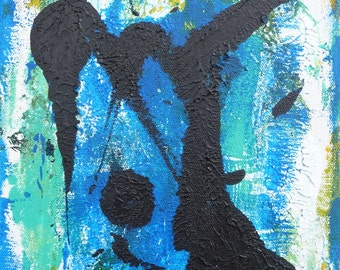 """Original abstract acrylic painting, """"Tai Chi,"""" 8"""" x 10"""", on stretched canvas."""