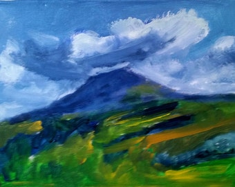 """Just reduced!-Original Acrylic Painting, """"Volcano #1,"""" 12"""" x 16"""", Arenal Volcano, Costa Rica, now with black wood frame."""