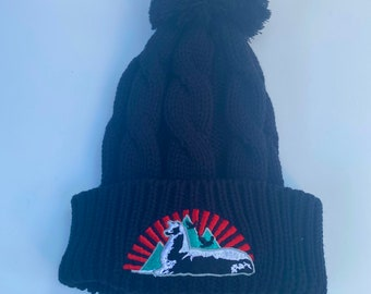 Phish-Llamas Under the Stars Black Chunky Knit Beanie