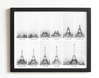 Paris Print | Eiffel Tower Being Constructed | Black and White City Art