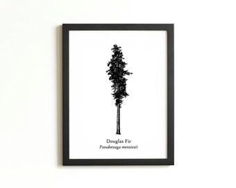 Douglas Fir Tree Silhouette Print | Rustic Wall Art | Woodland Decor