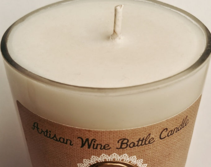 Featured listing image: Soy candles, handmade, holiday, scented, Artisan Wine Bottle Candles (15 oz)