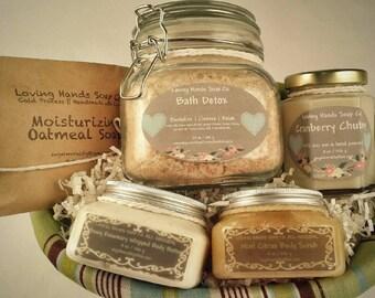 Holiday gift set, Bath & Body,  sea salt scrub, sugar scrub, body butter, handmade soap, soy cadles, bath detox