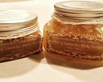 Lavender Body Scrub, calming, rejuvenating, sugar scrub, all natural, body scrub, Handmade, Pink Himalayan Sea salt, holiday, essential oils