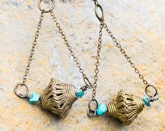 Funky Turquoise 'n Brass Earrings