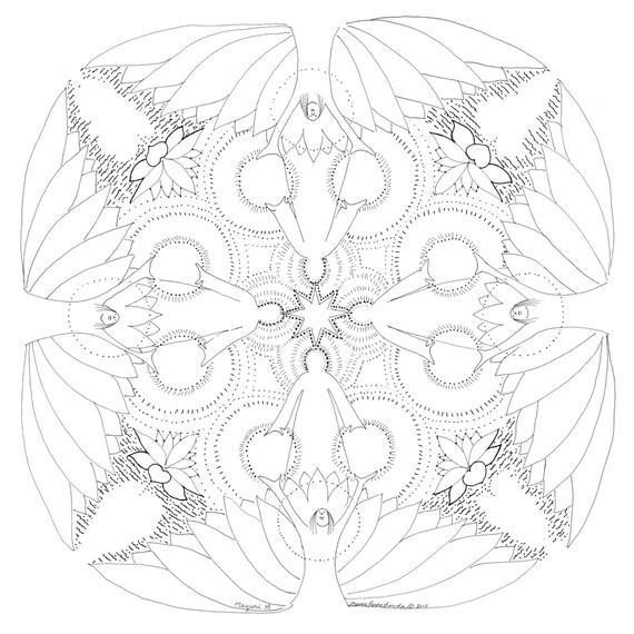 Corazón iluminado Mandala para colorear meditaciones | Etsy